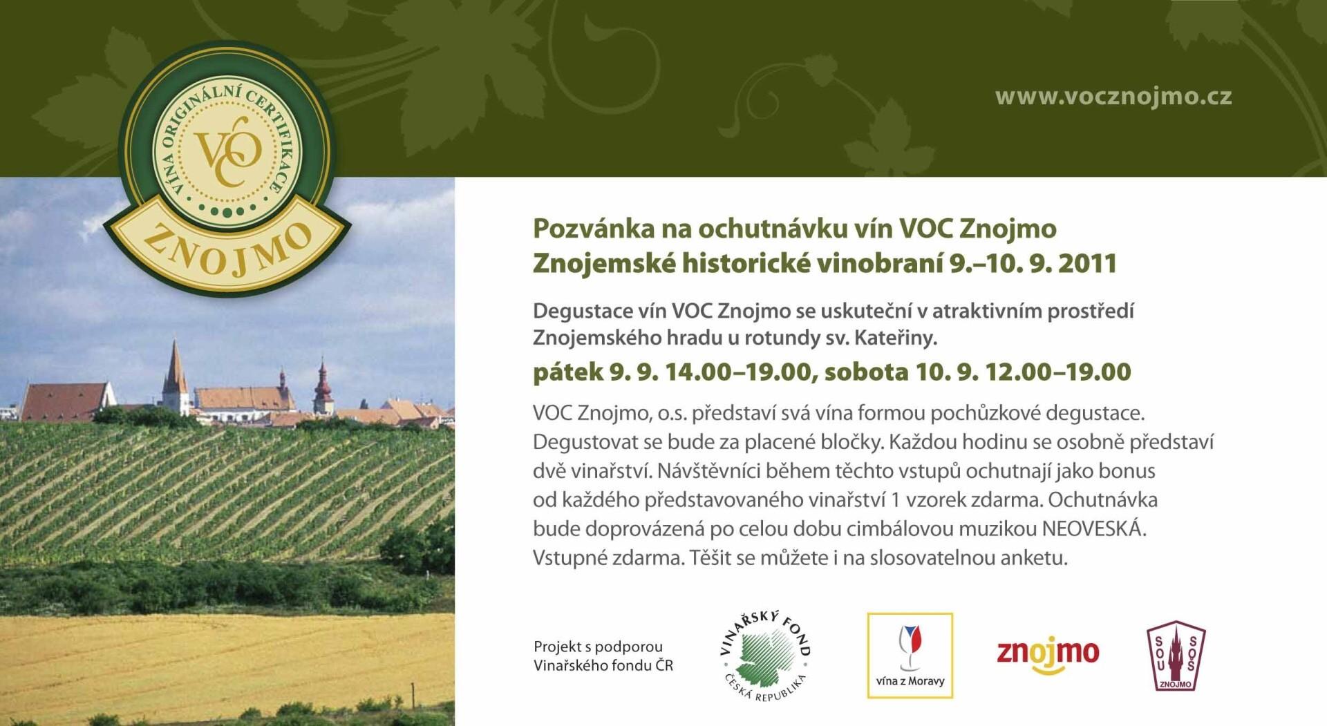Pozvánka na ochutnávku vín VOC Znojmo, Znojemské historické vinobraní 9.–10. 9. 2011
