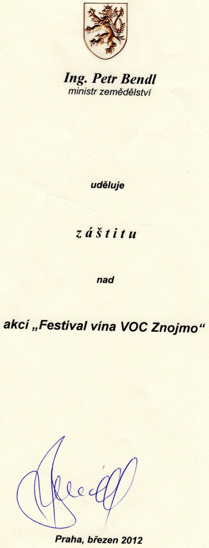 Záštita ministra zemědělství nad Festivalem vína VOC Znojmo 2012