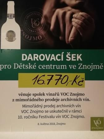 Charitativní prodej vín: VOC Znojmo předá Dětskému centru 16 770 korun
