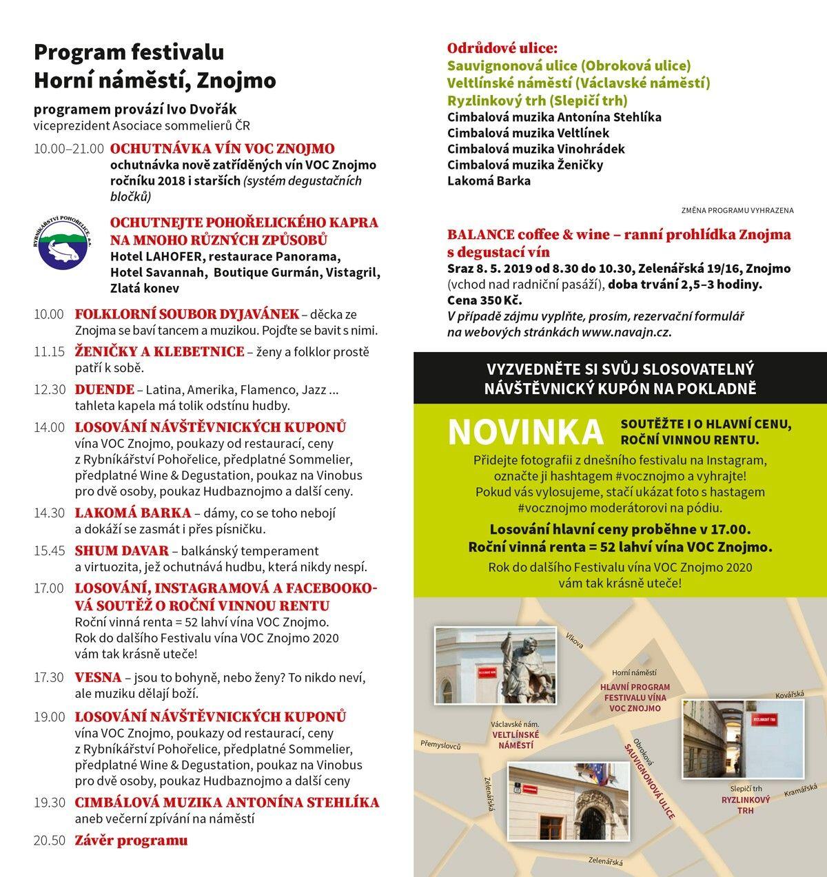 Program - Festival vína VOC Znojmo 8. 5. 2019