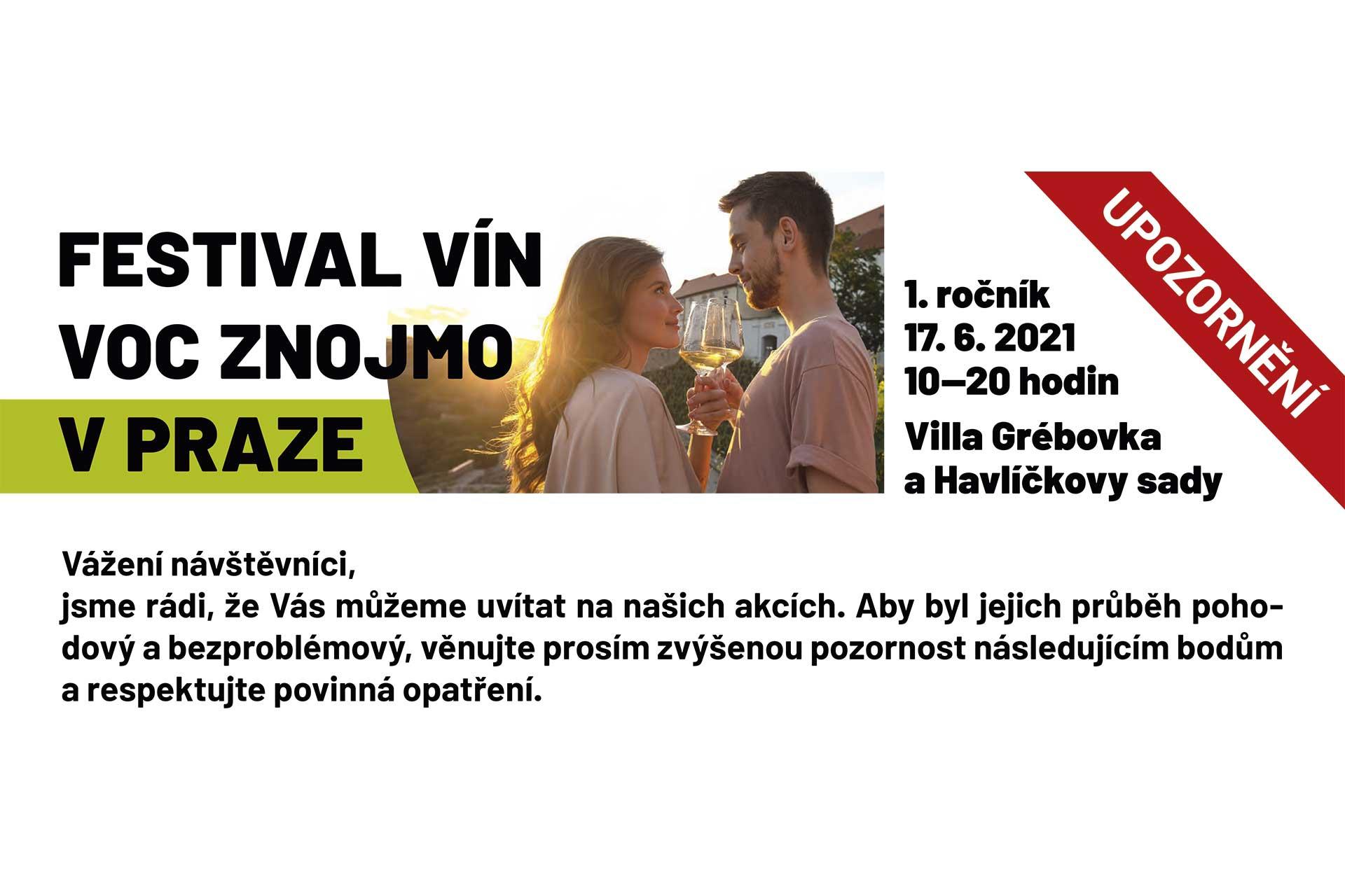 Informace před akcí – festival vín VOC Znojmo 2021